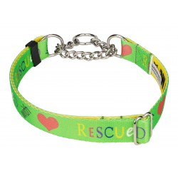 Rescued with Love Half Check Dog Collar