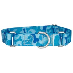 Blue Bone Camo Martingale Dog Collar