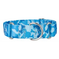 1 1/2 Inch Blue Bone Camo Martingale Dog Collar