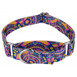 Blue Boho Mandala Martingale Dog Collar