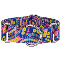 1 1/2 Inch Blue Boho Mandala Martingale Dog Collar