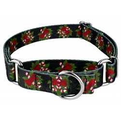 Black Candy Cane Martingale Dog Collar