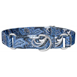 Blue Paisley Featherweight Martingale Dog Collar - Extra Small