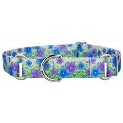 Blue April Blossoms Featherweight Martingale Dog Collar - Extra Small