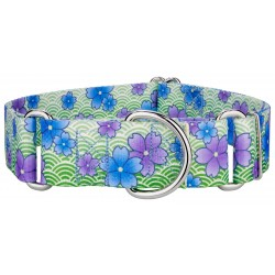 1 1/2 Inch Blue April Blossoms Martingale Dog Collar