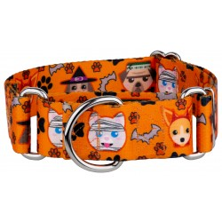 1 1/2 Inch Frightening Furbabies Martingale Dog Collar
