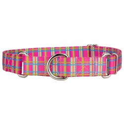 Bubblegum Pink Plaid Featherweight Martingale Dog Collar - Extra Small