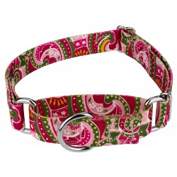 Pink Paisley Martingale Dog Collar