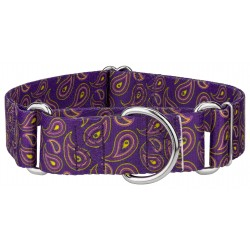 1 1/2 Inch Purple Paisley Martingale Dog Collar