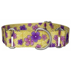 1 1/2 Inch Purple April Blossoms Martingale Dog Collar