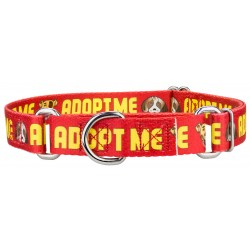 Red Adopt Me Martingale Dog Collar - Closeout