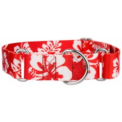 1 1/2 Inch Red Hawaiian Martingale Dog Collar