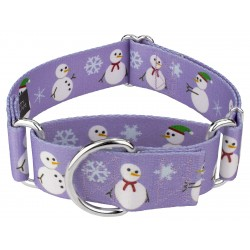 1 1/2 Inch Snowman Martingale Dog Collar