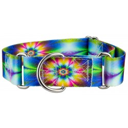 1 1/2 Inch Tie Dye Flowers Martingale Dog Collar