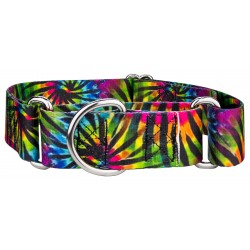 1 1/2 Inch Tie Dye Stripes Martingale Dog Collar
