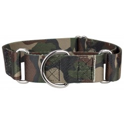 1 1/2 Inch Woodland Camo Martingale Dog Collar