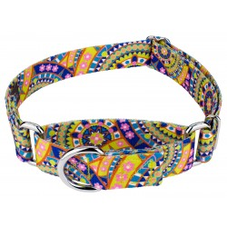 Yellow Boho Mandala Martingale Dog Collar