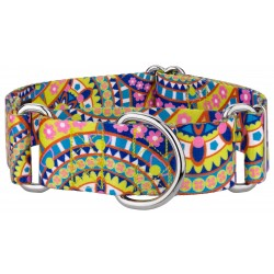 1 1/2 Inch Yellow Boho Mandala Martingale Dog Collar