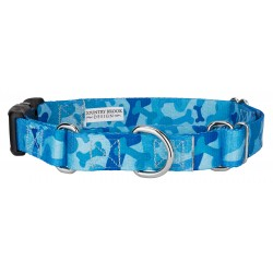 Blue Bone Camo Martingale with Deluxe Buckle