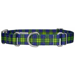 Blue and Green Plaid Martingale With Premium Buckle