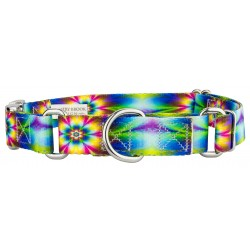 Tie Dye Flowers Martingale with Premium Buckle