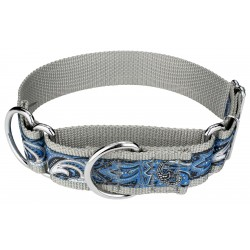 1 1/2 Inch Blue Paisley Exclusive Martingale Dog Collar
