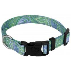 Deluxe Green Paisley Reflective Dog Collar