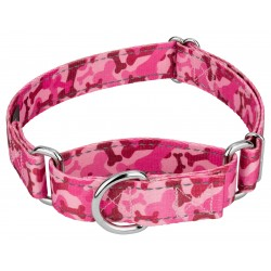 Pink Bone Camo Reflective Martingale Dog Collar