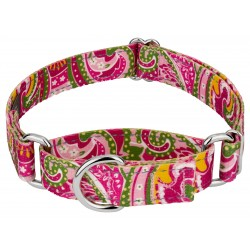 Pink Paisley Reflective Martingale Dog Collar