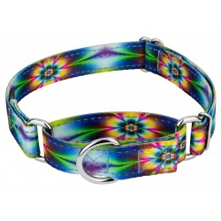 Tie Dye Flowers Reflective Martingale Dog Collar