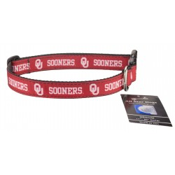 Oklahoma Sooners Ribbon Dog Collar