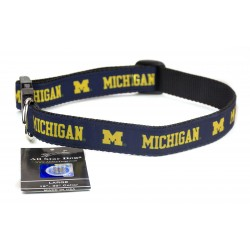 Michigan Wolverines Ribbon Dog Collar