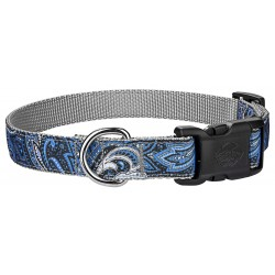 Deluxe Blue Paisley Ribbon Dog Collar