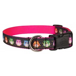 Deluxe Pink Nite Owls Ribbon Dog Collar