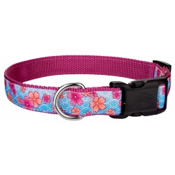 Deluxe Pink April Blossoms Ribbon Dog Collar