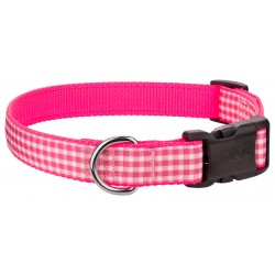 Deluxe Pink and White Gingham on Hot Pink Ribbon Dog Collar