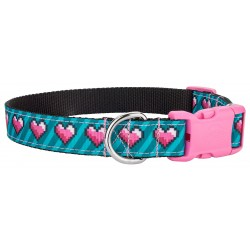 Deluxe 8-bit Pixel Ribbon Dog Collar with Pink Buckle
