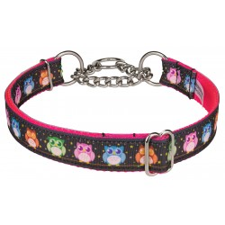 Pink Nite Owls Ribbon Half Check Dog Collar