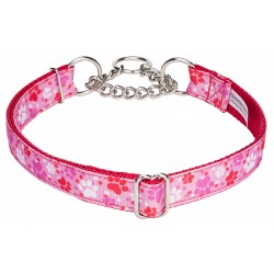 Puppy Love Ribbon Half Check Dog Collar
