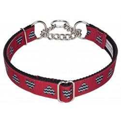 Queen of Hearts Ribbon Half Check Dog Collar