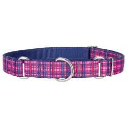 Cotton Candy Plaid Ribbon Martingale Collar
