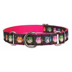 Pink Nite Owls Ribbon Martingale Dog Collar