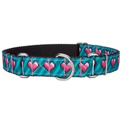 8-bit Pixel Ribbon Martingale Dog Collar