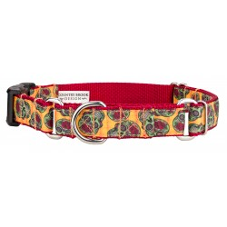 Sugar Skulls Ribbon Martingale With Deluxe Buckle Dog Collar