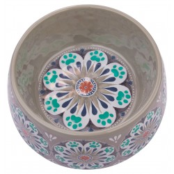 TarHong Grey Carmel Medallion Melamine Pet Bowl, Medium