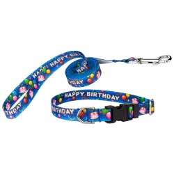 Blue Happy Birthday Deluxe Featherweight Dog Collar & Leash - Extra Small