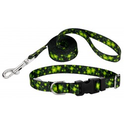 Clovers In The Wind Deluxe Featherweight Dog Collar & Leash - Extra Small
