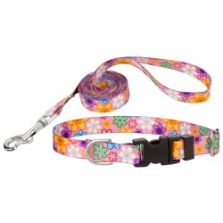 May Flowers Deluxe Featherweight Dog Collar & Leash - Extra Small
