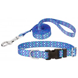 Mermaid Scales Deluxe Featherweight Dog Collar & Leash - Extra Small