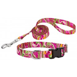 Pink Paisley Deluxe Featherweight Dog Collar & Leash - Extra Small